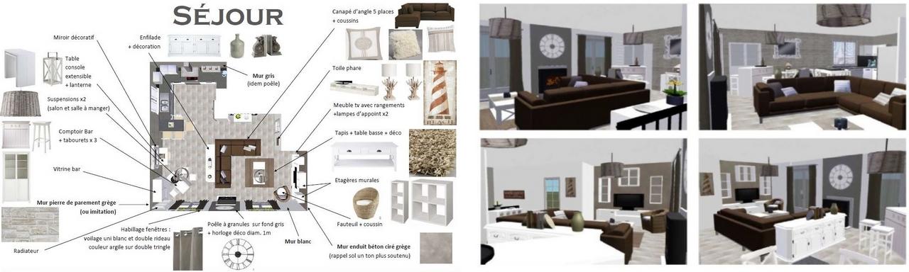 Plan et aperçu 3D décoration intérieure l'isle jourdain Gers