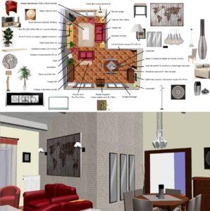 plan 2d 3d sejour decoration interieur gers